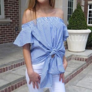 Off the Shoulder Striped Knot Top